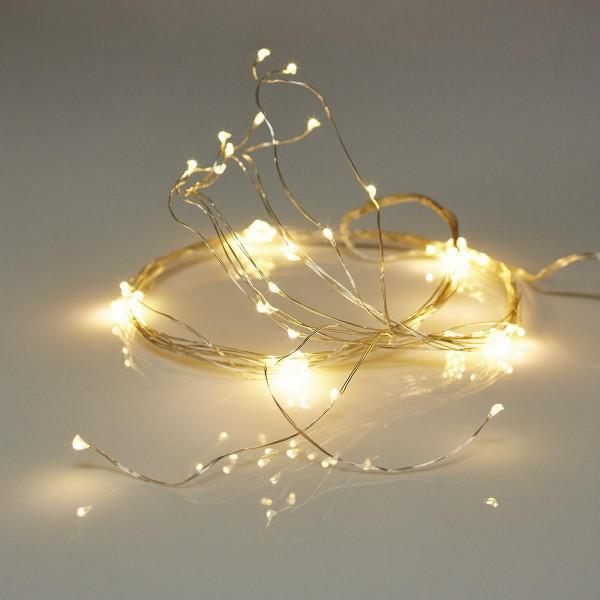 Weihnachts Lichterkette SILBERDRAHT BELEUCHTUNG 80 LED