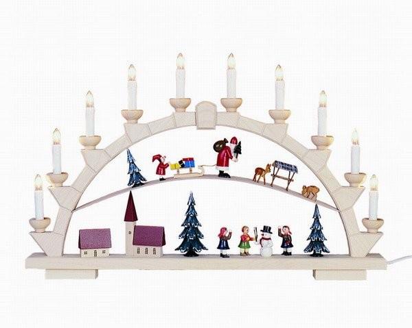 Schwibbogen Weihnachtsmann mit 10 elekr. Kerzen - 64x40 cm