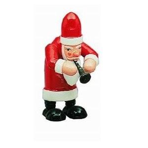 Weihnachtsmann mit Flöte Dekofigur aus Holz 7,5cm
