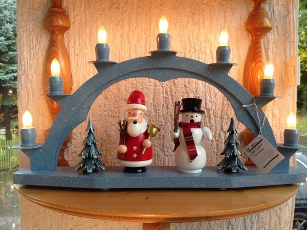 Schwibbogen aus dem Erzgebirge aus Holz blau mit 7 elekr. Kerzen ohne Setzkasten - 47 x 28cm