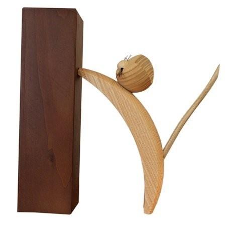 Holzfigur Katze natur kletternd - 16cm