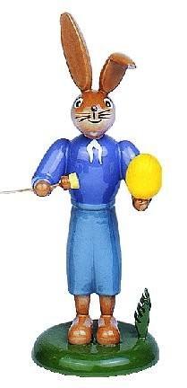 Osterhase blau mit Pinsel + Osterei 11,5cm
