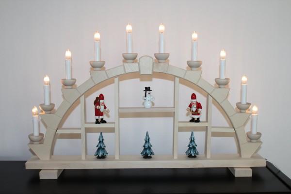 Schwibbogen Erzgebirge Holz natur 64x40 cm 10 Kerzen mit Schneemann + Weihnachtsmann +Bäumen