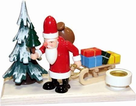 Lichthalter Weihnachtsmann Winterwald Holz klein 12 cm