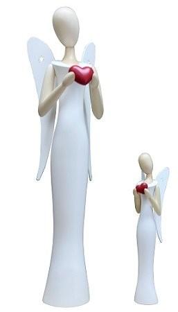 Engel Sternkopf mit Herz stehend 24,5cm