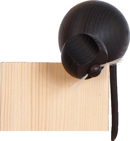 Holzfigur Katze schwarz an Ecke sitzend - 10,5cm