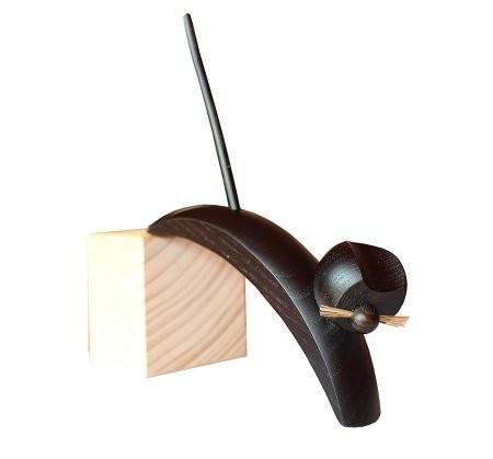 Holzfigur Katze schwarz springend - 16cm