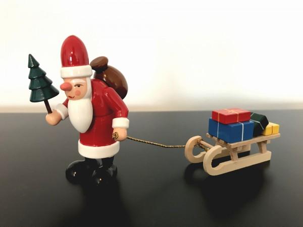 Weihnachtsmann mit Schlitten aus Holz 7,5cm