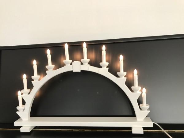 Schwibbogen aus Holz weiss mit 10 elekr. Kerzen - 64x40 cm