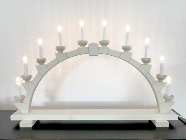 Schwibbogen aus Holz natur mit 10 elekr. Kerzen - 64x40 cm