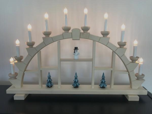 Schwibbogen Erzgebirge Holz natur 10 elekr. Kerzen Setzkasten 64x40 cm mit Schneemann + Bäumen