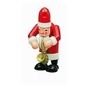 Weihnachtsmann mit Saxophon Dekofigur aus Holz 7,5cm