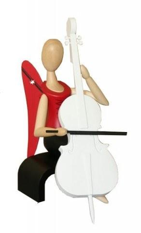 Engel Sternkopf mit Cello sitzend