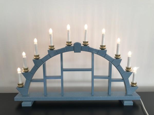 Schwibbogen aus Holz blau mit 10 elekr. Kerzen Setzkasten - 64x40 cm