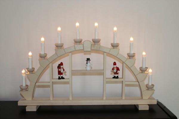 Schwibbogen Holz natur 10 elekr. Kerzen Setzkasten - 64x40 cm Weihnachtsmann + Schneemann