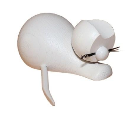 Holzfigur Katze weiß sitzend - 9cm