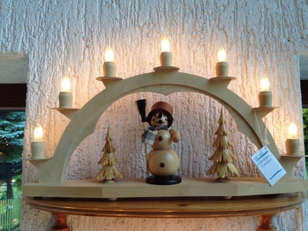 Schwibbogen Erzgebirge aus Holz weiss mit 7 elekr. Kerzen ohne Setzkasten - 47 x 28cm